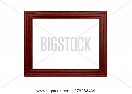 Red Wood Picture Frame, Isolated On White