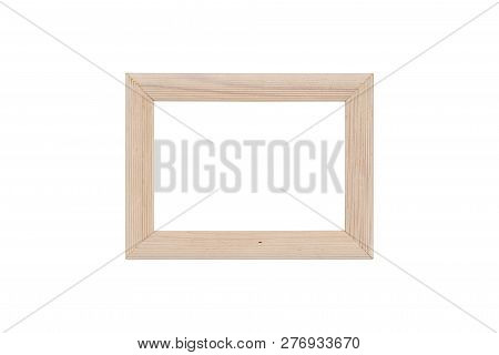 Wood Picture Frame With Silver Inlay, Isolated On White