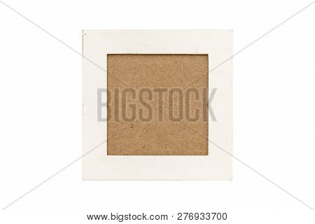 Old White Wood Picture Frame With Passepartout, Isolated On White