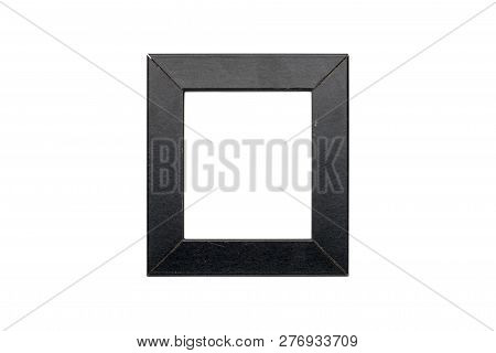 Old Black Wood Picture Frame, Isolated On White