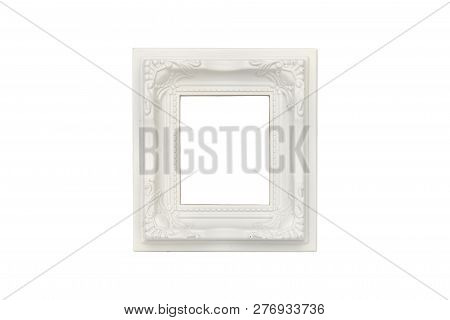 Old White Plastic Picture Frame, Isolated On White