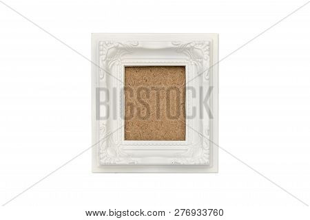 Old White Plastic Picture Frame With Passepartout, Isolated On White