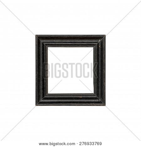 Old Black Picture Frame, Isolated On White