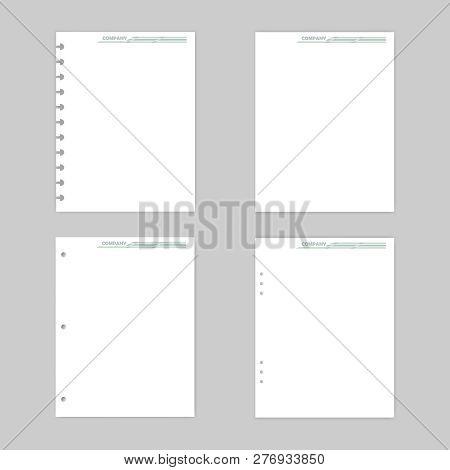 Blank White Paper Mock-up Set. Filler Paper Sheets For Disc And 3, 6 Ring Binder. Letter Size. Mocku