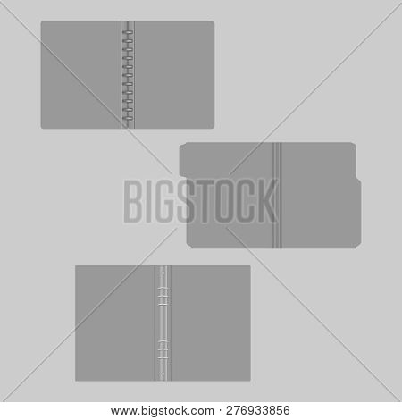 Open Gray Folders, Mockup Set. File Folder With Cut Tab, Disc And Ring Binders, Mock-up