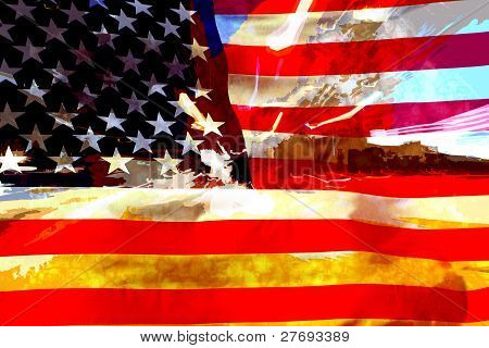 Grunge music and modern USA flag