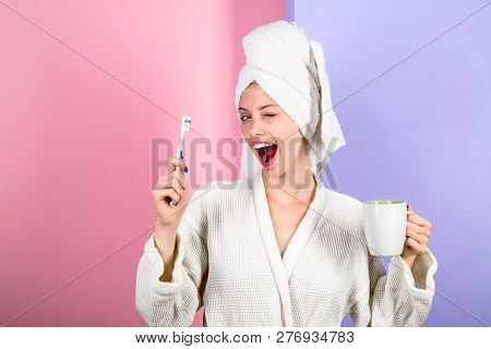 Woman With Toothbrush. Morning Treatments. Health. Teeth. Morning. Morning Procedures. Daily Routine