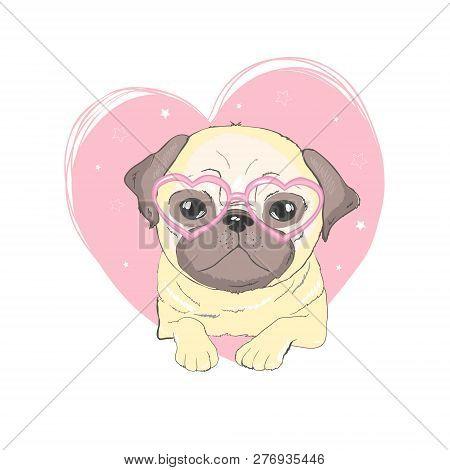 Pug Dog Cartoon Illustration. Cute Friendly Fat Chubby Fawn Sitting Pug Puppy, Smiling With Tongue O