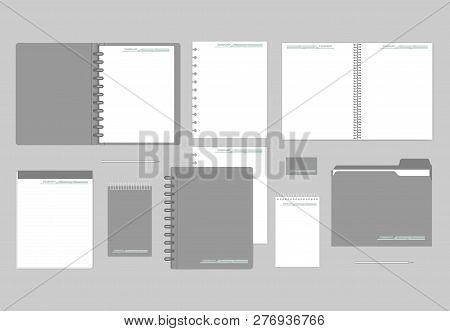 Stationery Mockup Set For Corporate Identity Design. Notebooks, Paper, Folder, Business Card. Mock-u