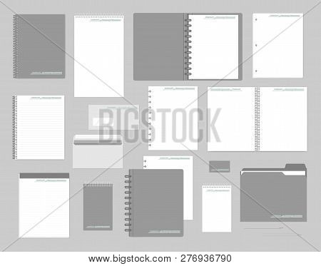 Stationery Mockup Set For Corporate Identity Design. Notebooks, Paper, Folder, Envelope, Business Ca