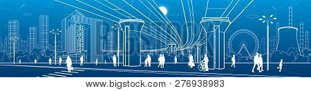 Business Center, City Architecture Panorama. People Walking At Town Street. Road Crosswalk. Road Bri