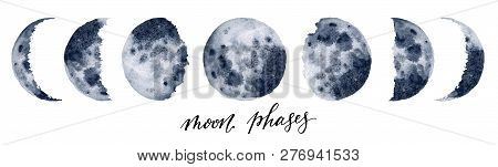 Watercolor Moon Phases. Hand Painted Various Phases Isolated On White Background. Hand Drawn Modern