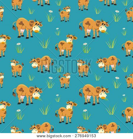 Hand Drawn Quirky Cow Seamless Pattern. Cute Farm Animals Cheerful Design Element. Cartoon Childlike