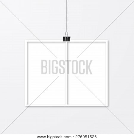 Realistic Photo Frame Hanging With Binder Clips Isolated On White. Paper Cut Effect. Template Collag