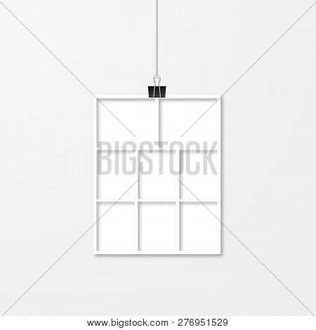 Wedding Album Page Layout. Realistic Photo Frame Hanging With Binder Clips Isolated On White Wall. P