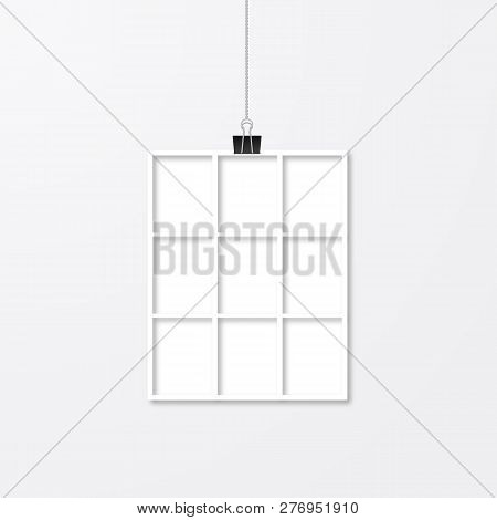 Photo Collage Vector Template. Realistic White Paper Photo Frame Hanging With Binder Clips. Wedding