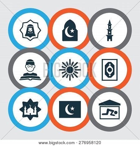 Religion Icons Set With Flag, Imam, Masjid And Other Mosque Elements. Isolated Vector Illustration R