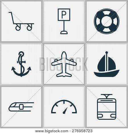 Shipping Icons Set With Train, Parking Sign, Trolley And Other Streetcar Elements. Isolated Vector I