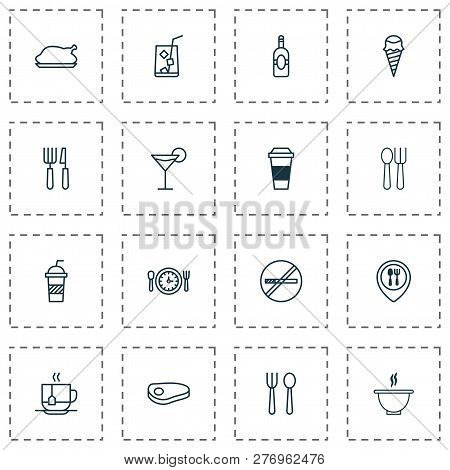 Restaurant Icons Set With Spoon With Fork, Espresso, Restaurant Location And Other Silverware Elemen