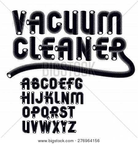 Set Of Trendy Modern Vector Upper Case Alphabet Letters Isolated. Funky Rounded Font, Typescript For