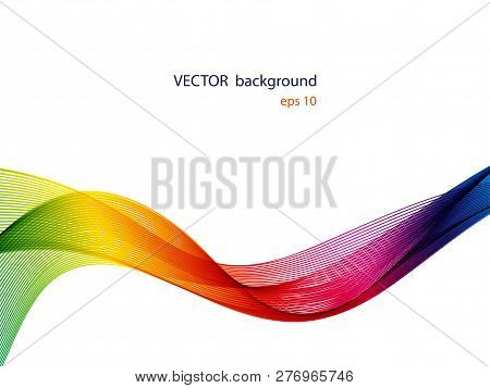 Abstract Colorful Wave Lines Flowing Isolated On White Background.