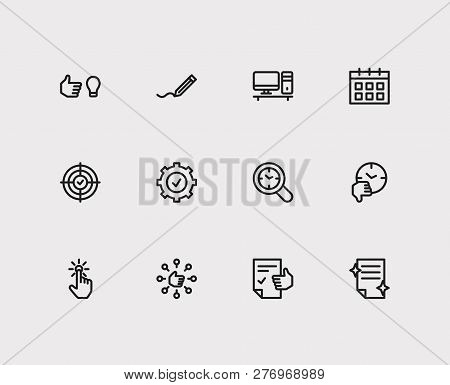 Task Icons Set. Audit Time And Task Icons With Start From Scratch, Just Do It And Perfection. Set Of
