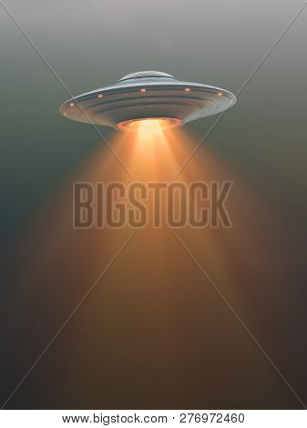 Unidentified Flying Object With Propulsion Tail. Your Text Over The Tail Of The Rocket. 3d Illustrat