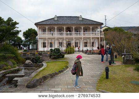 Nagasaki, Japan - October 26, 2018: Former Mitsubishi second dock house in Glover Garden in Nagasaki, Japan