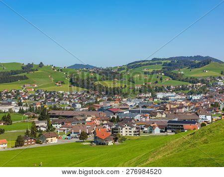 Appenzell, Switzerland - September 20, 2018: Buildings Of The Town Of Appenzell. The Town Of Appenze