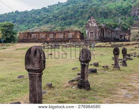 champasak, laos - november 26, 2018: wat phou (vat phu) is a unesco world heritage site. in the south of laos. formerly hindu.