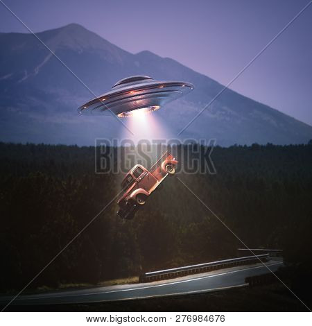 Unidentified Flying Object Lifting A Car From Road. Concept Of Alien Abduction. Clipping Path Includ