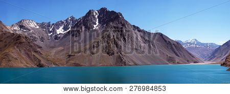 Panorama Of The Embalse De Yeso Reservoir In Cajon Del Maipo.  Near Santiago, Chile.