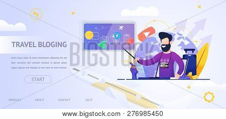 Banner Illustration Travel Bloging Video Online. Guy Talk About Traveling From Screen Laptop Monitor