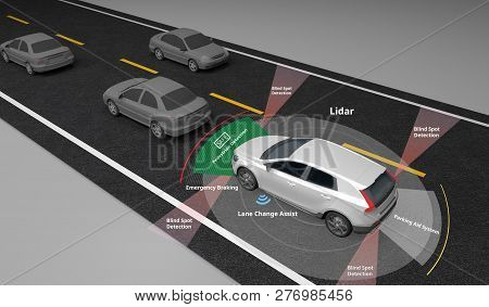 Autonomous Self-driving Electric Car Showing Lidar And Safety Sensors Use, Left-hand Traffic,3d Rend