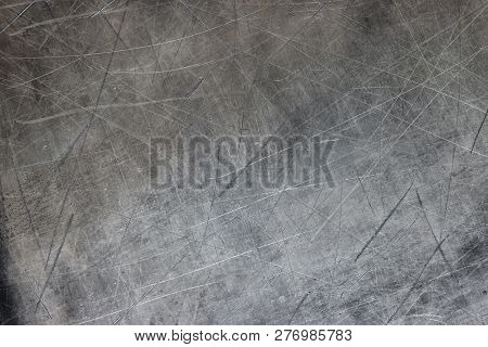 Gray Steel Background, Old Iron Texture Closeup. Dark Titanium Plate, Gray Metal Texture As Backgrou
