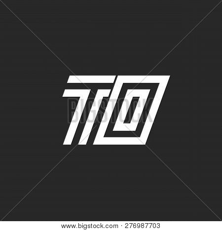 Logo To Initials Letters Monogram Simple Linear Minimalist Design, Two Letters T And O Together