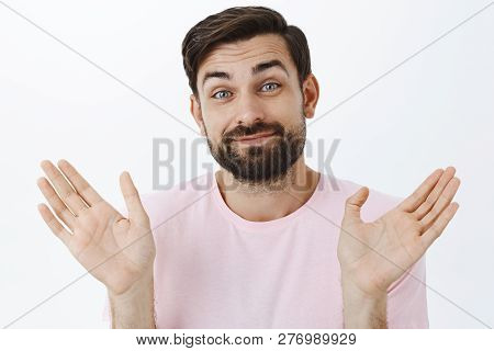 Nothing To Be Done, Cannot Help. Shgging Careless And Unbothered Carefree Bearded Guy Raising Palms