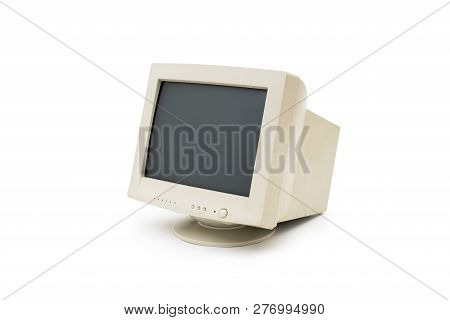 Isolated Vintage Crt Computer Monitor On White Background.