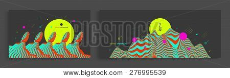 Landscape Background. Terrain. Abstract Wavy Background. Pattern With Optical Illusion. Cover Design