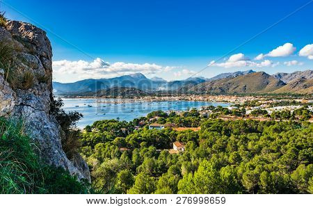 Idyllic Island Scenery Of Port De Pollenca, Beautiful Bay Coast On Mallorca, Spain Mediterranean Sea