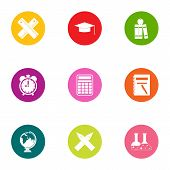 Valuable knowledge icons set. Flat set of 9 valuable knowledge icons for web isolated on white background poster
