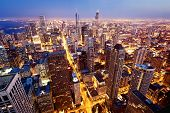 City of Chicago. Aerial view  of Chicago downtown at twilight from high above. poster