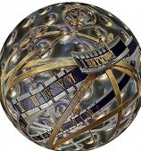 Time and space, sundial in 3d rendering on globe poster