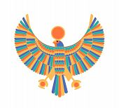 Ra - god, creator, deity or mythological creature depicted as falcon and sun disk. Legendary character from ancient Egypt mythology, culture or religion. Colorful vector illustration in flat style. poster