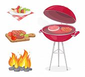 Beefsteak roasted meat on grille grid isolated icons set vector. Fire flame and beef served on plate and wooden boards. Dish with vegetables veggies poster