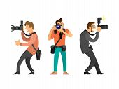 Photographers or paparazzi with digital cameras. Men taking picture, hobby and profession, modern device for photo shooting vector illustrations set. poster