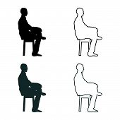Man sitting pose Young man sits on a chair with his leg thrown silhouette icon set grey black color vector illustration outline flat style simple image 84 poster