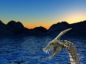 An image of a scary snake like sea monster it would be good for fear and Halloween concepts. poster