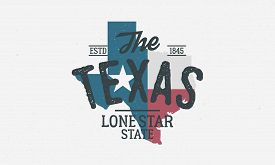 Texas State Logo, Emblem, Label. The Lone Star State. Print For T-shirt, Typography. Usa Texas Vinta