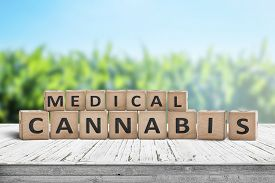 Medical Cannabis Sign On A Natural Desk With A Field Of Herbs In The Background